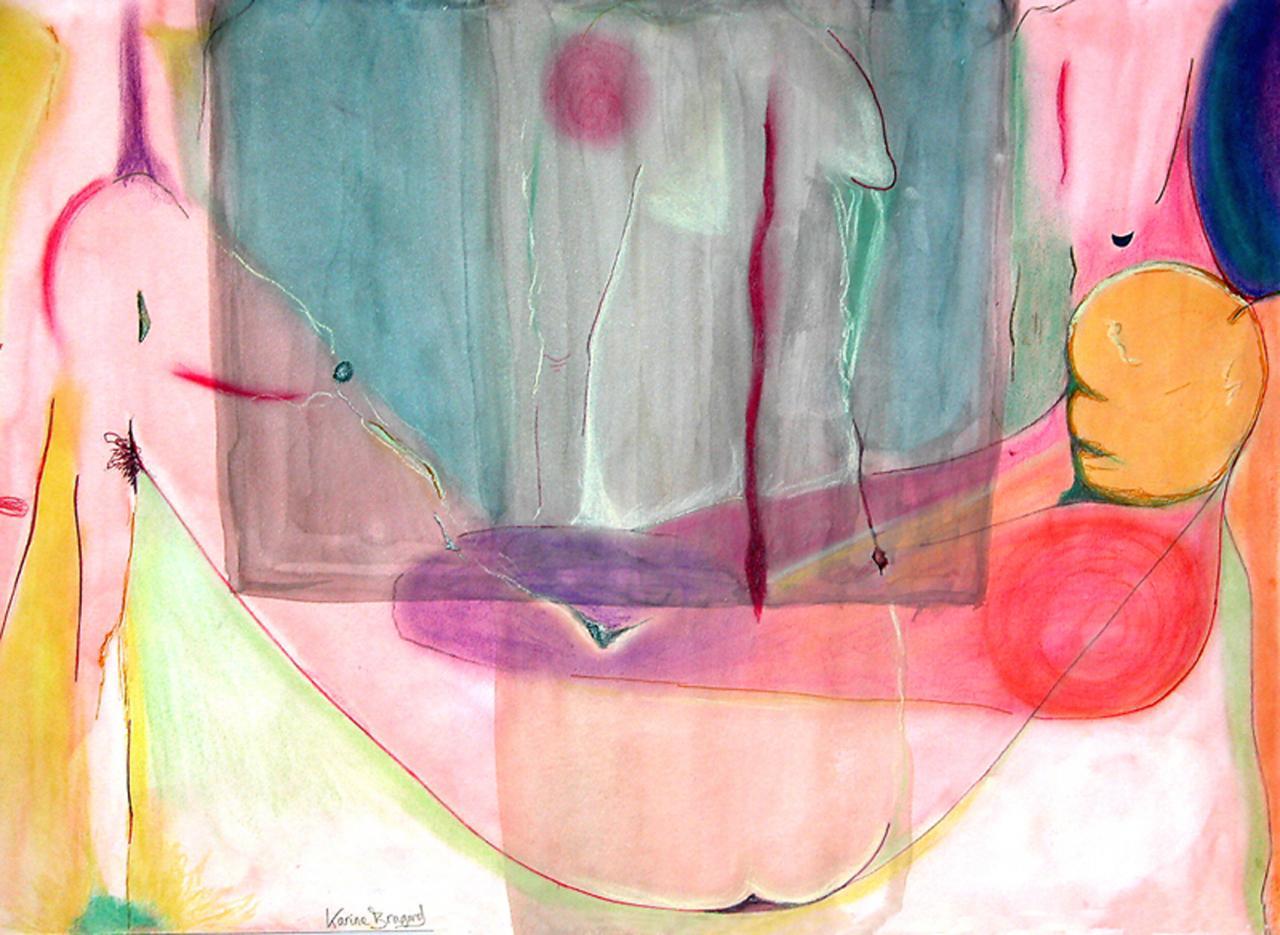Dessin à l' Aquarelle et Pastels   ( 50 x 70 cm )