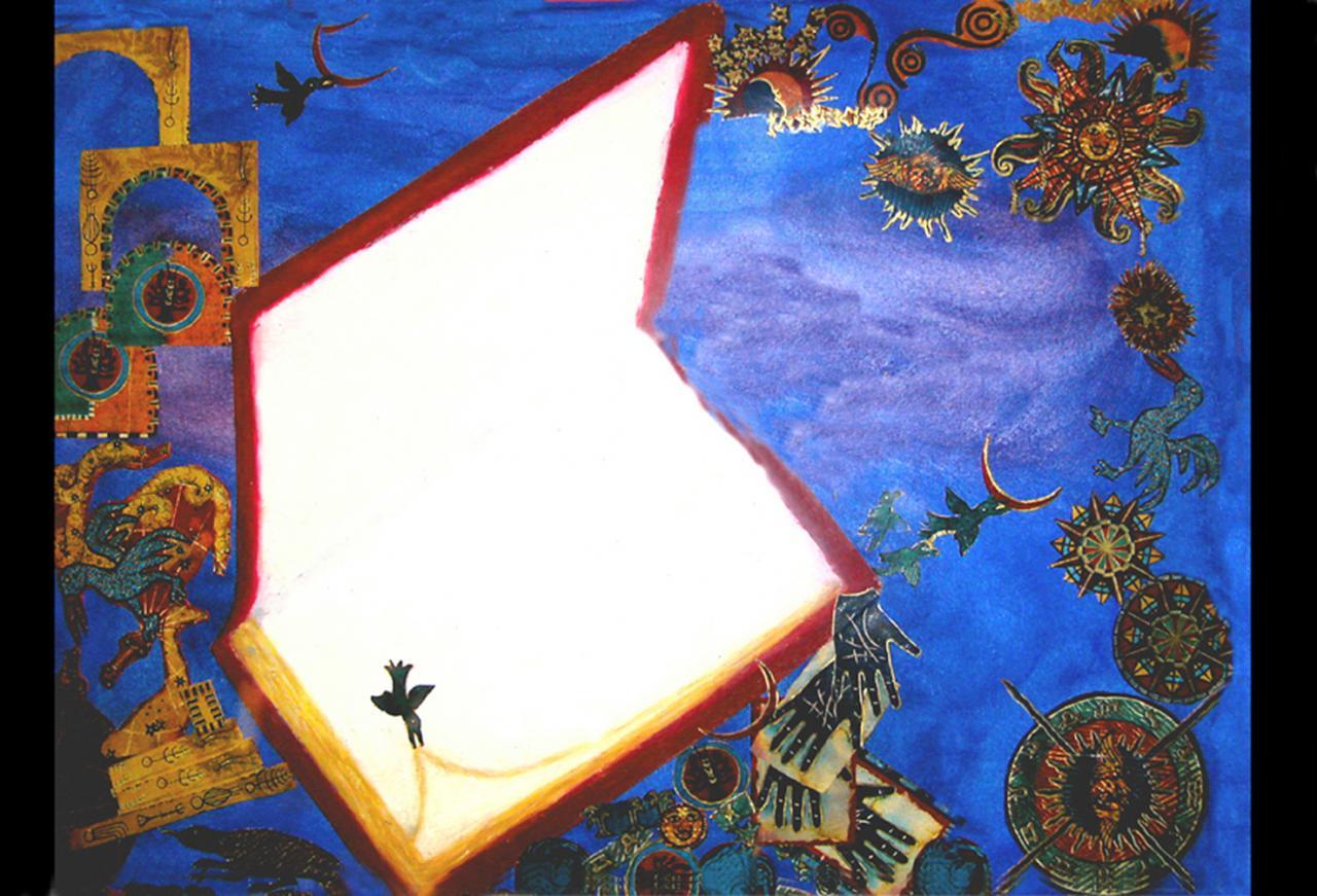 Technique Mixte - Livre aquarelle+collages  ( 30 x 40 cm )
