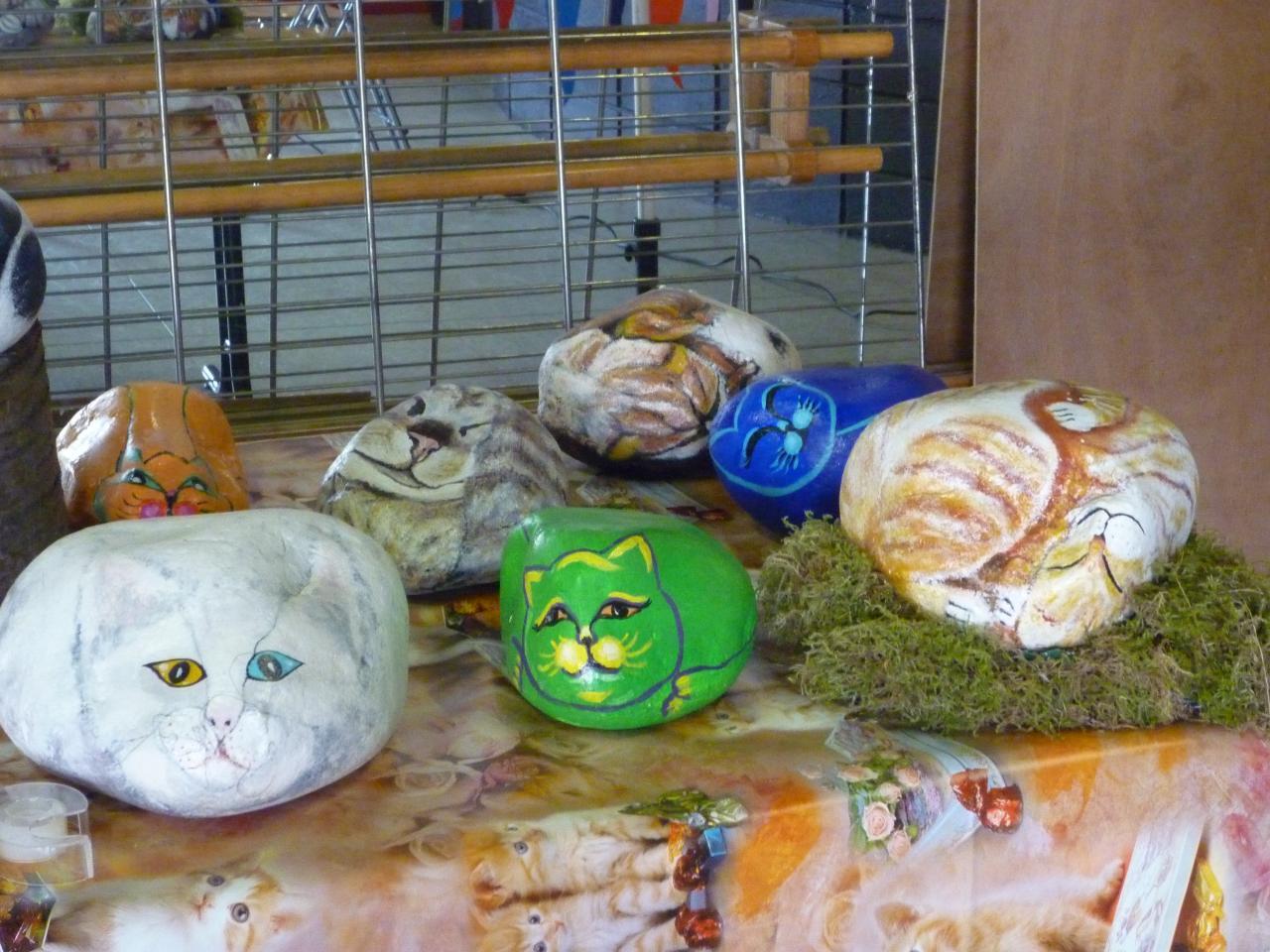 Ensemble de Chats sur galets  (2)
