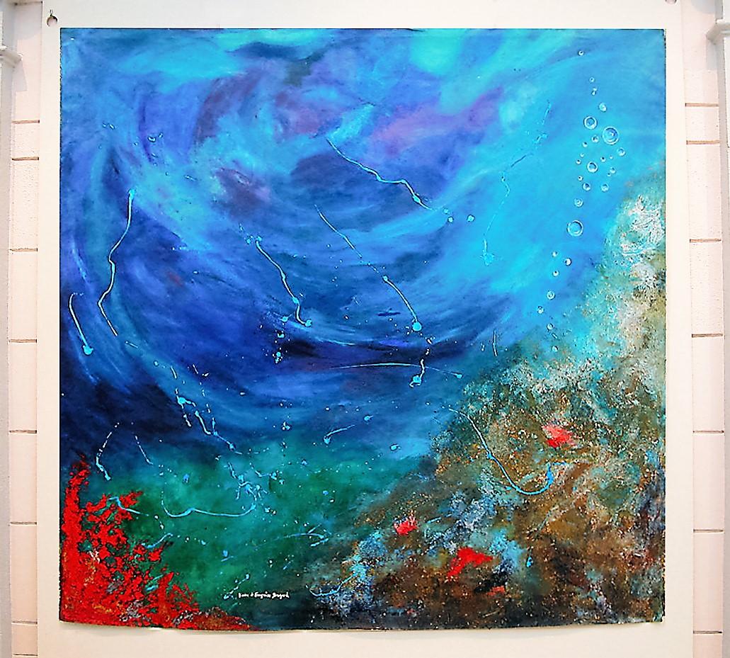 Tourbillon Bleu aux petits poissons  ( vue sous-marine)