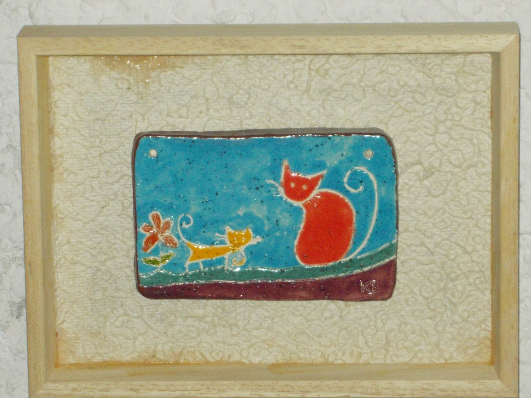 Tableau émaillé Chatte rouge et chaton jaune
