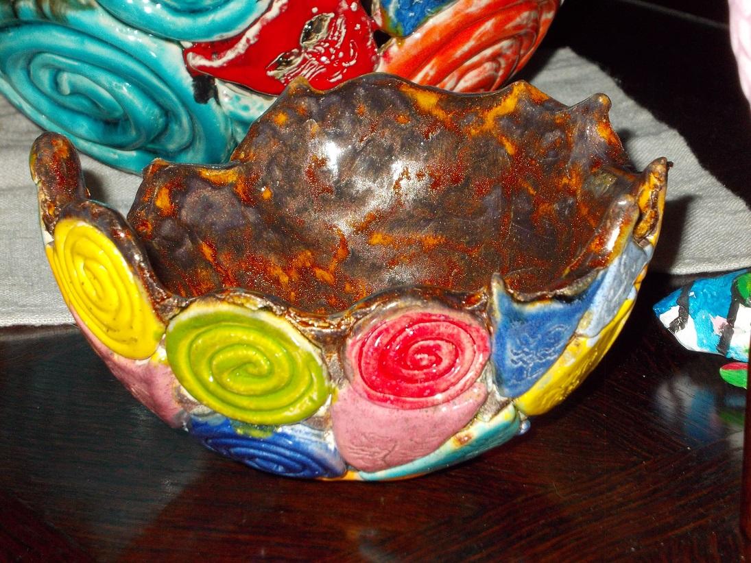 Petit Vase ambré aux Chats (1)
