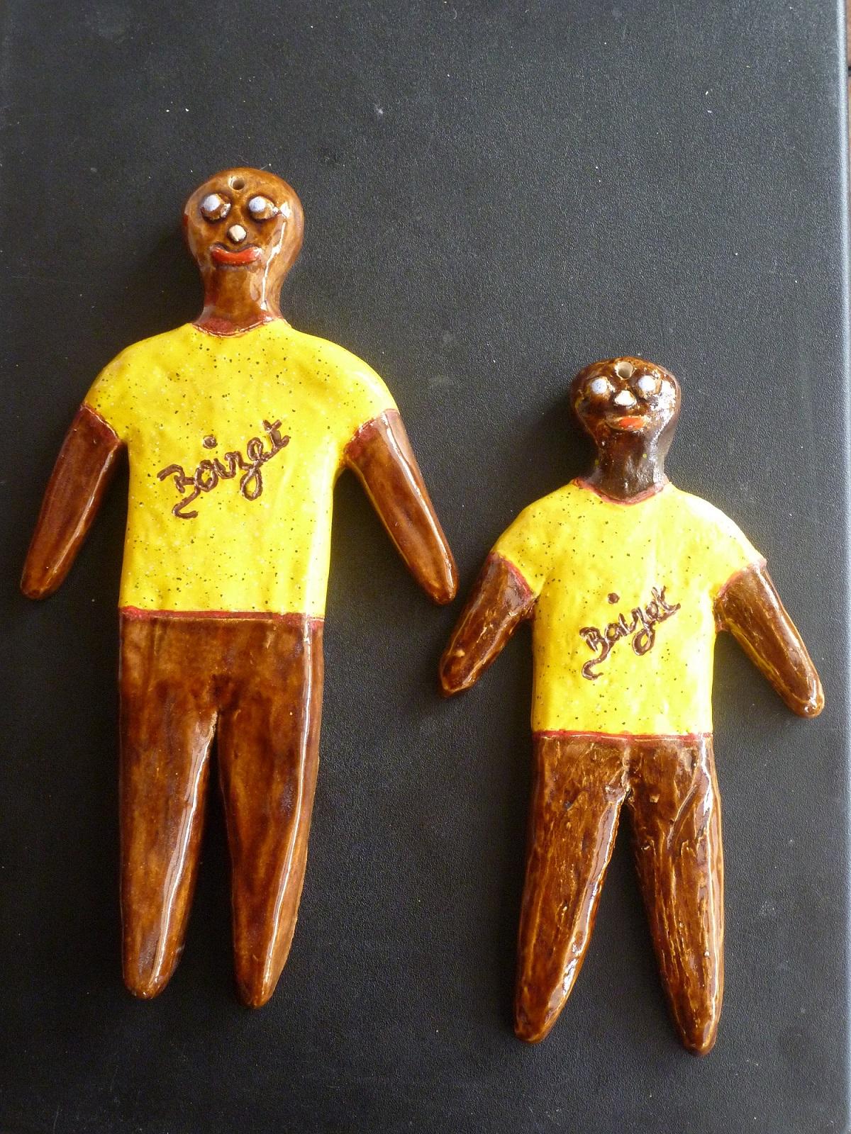 Création 2 Gilets Jaunes :  bonhommes Mendele en terre-cuite émaillée
