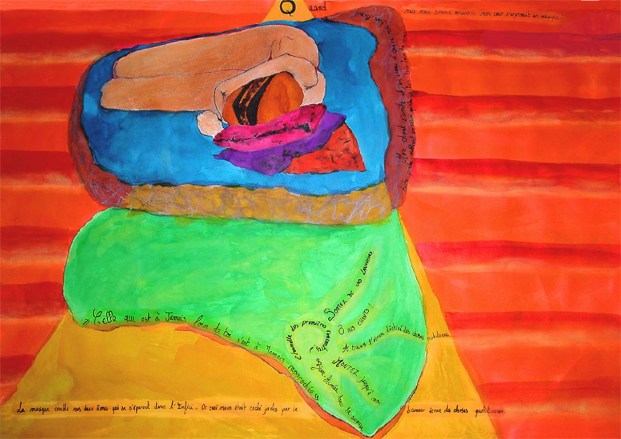 Dessin à l' Aquarelle et Poème indien  ( 50 x 70 cm )