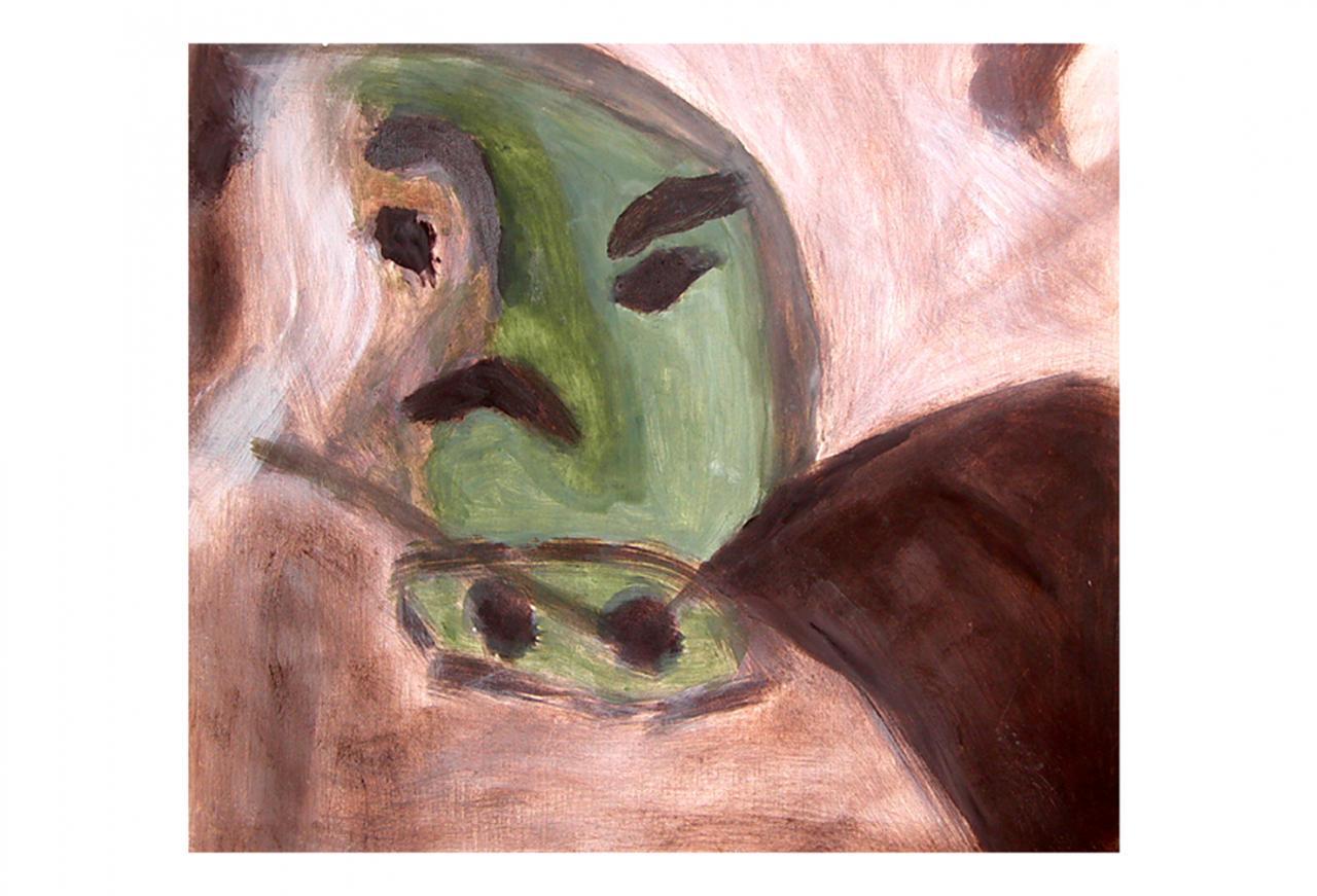 Peinture à la tempéra sur petit carré de bois   ( 30 x 30 cm )