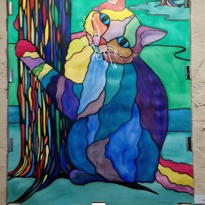 Chat arc-en ciel à l'aquarelle , imitation vitrail - KB