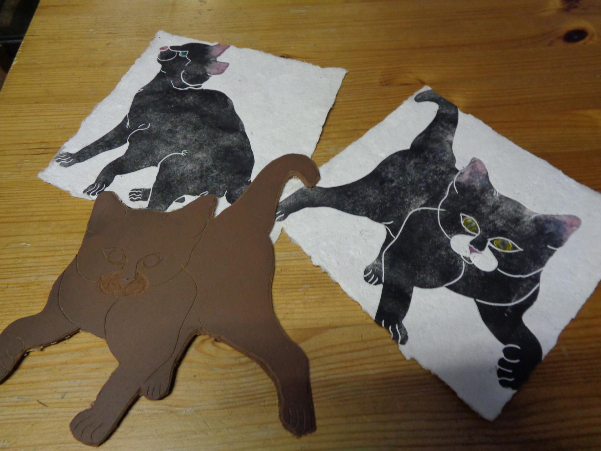 Gravure de mes dessins avec impression sur papier chiffon
