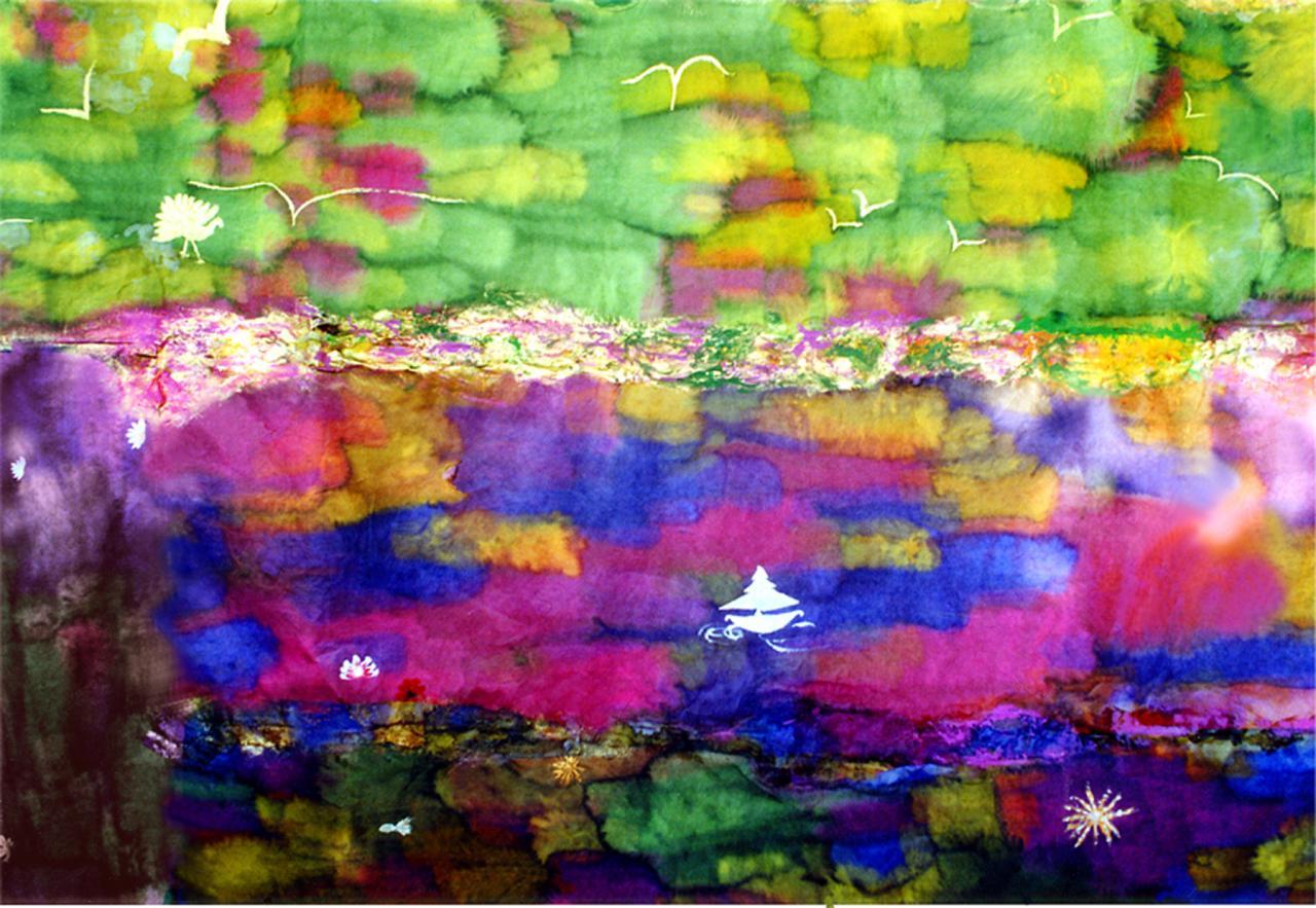 Paysage de couleurs (2) -  Encre sur papier japon