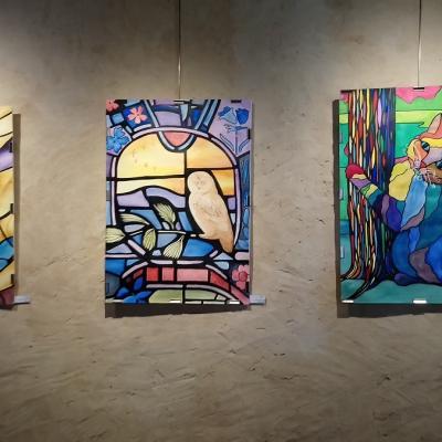 Aquarelles de groupe, imitation vitrail - Chat KB