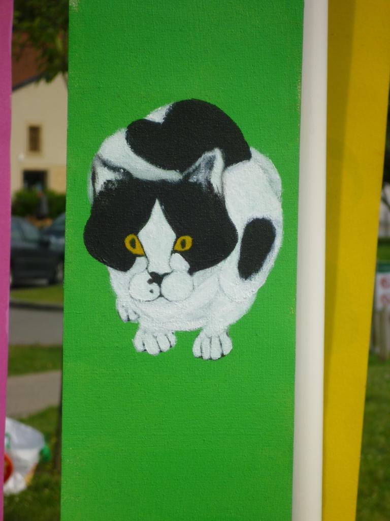 Le regard du chat ! ( peinture sur tissu pour store )