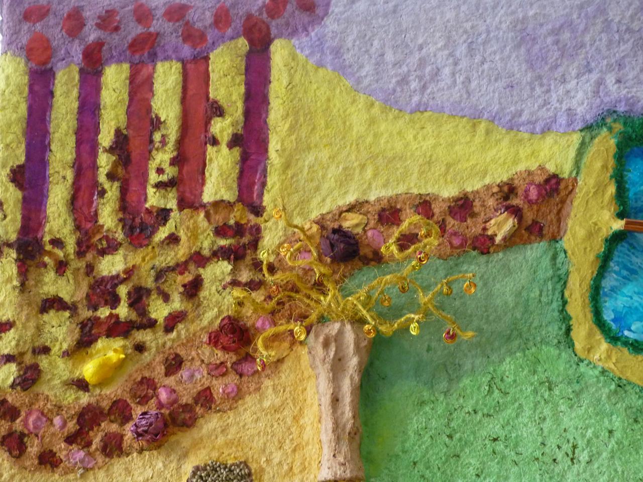 Escargot (terre cuite),chemin de roses,arbre et Nature automnale