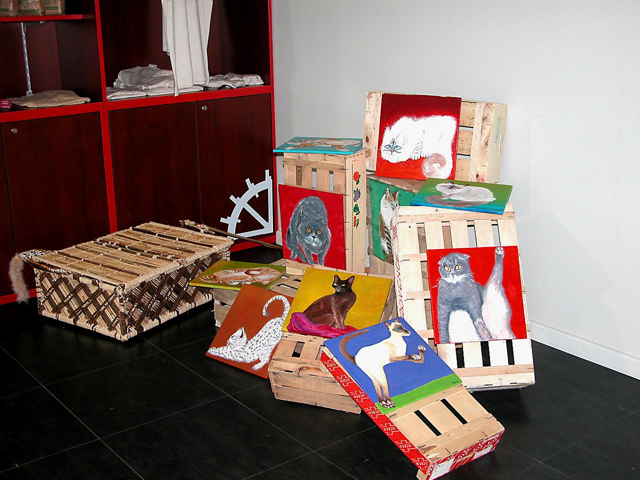 Chats du moulin sur cagettes et leur Valise en roseaux