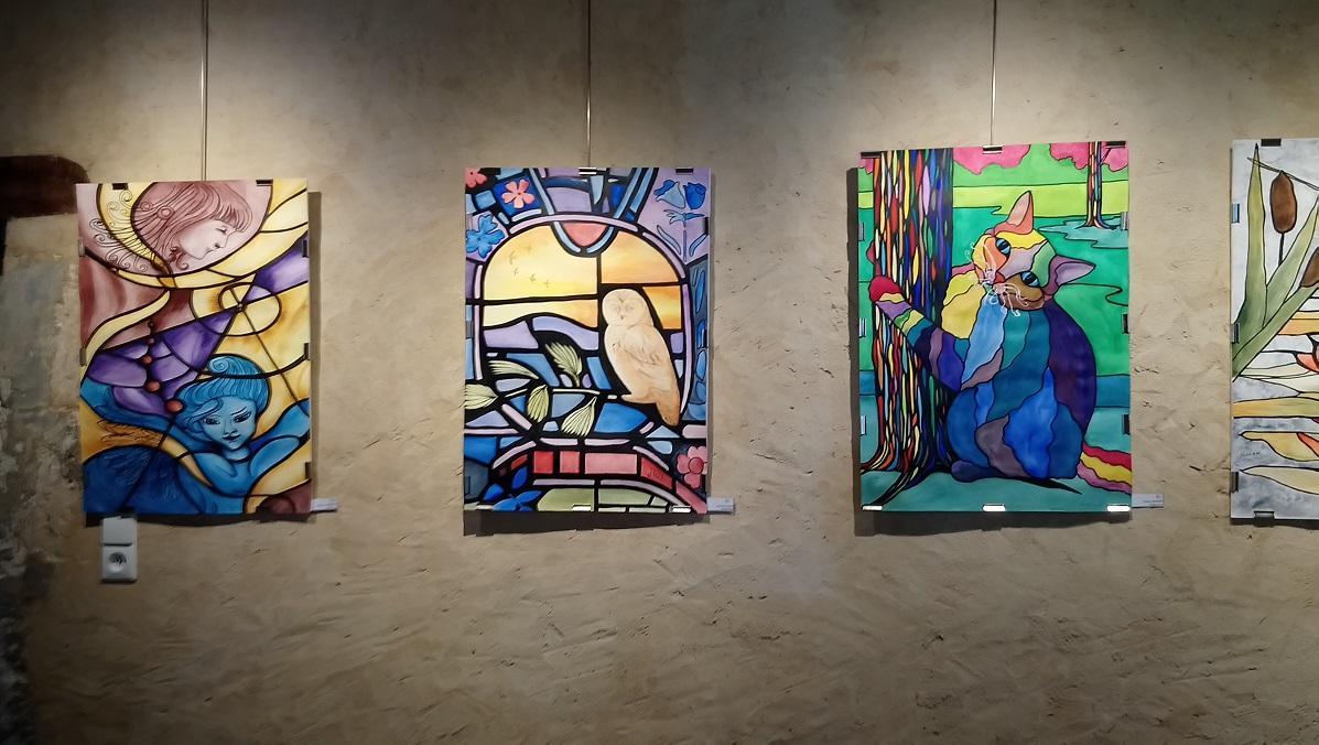 Expo salle du bailly juin 2019 aquarelles imitation vitrail chat kb